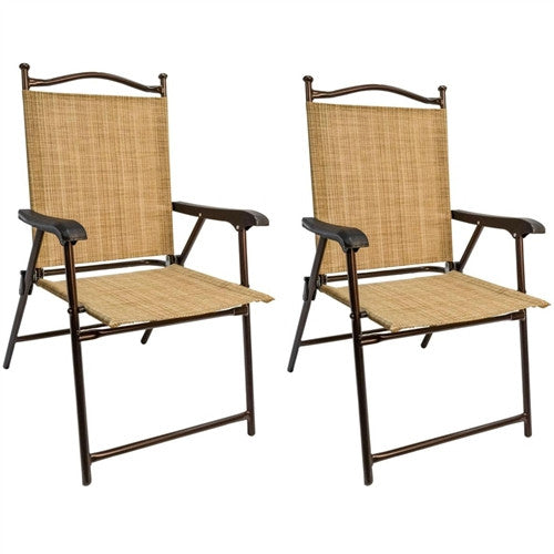 Set of 2 Sling Back Folding Outdoor Patio Bistro Chairs - YourGardenStop
