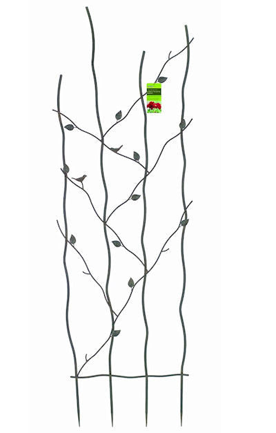 60-inch Metal Trellis with Climbing Vine Leaf Design - YourGardenStop