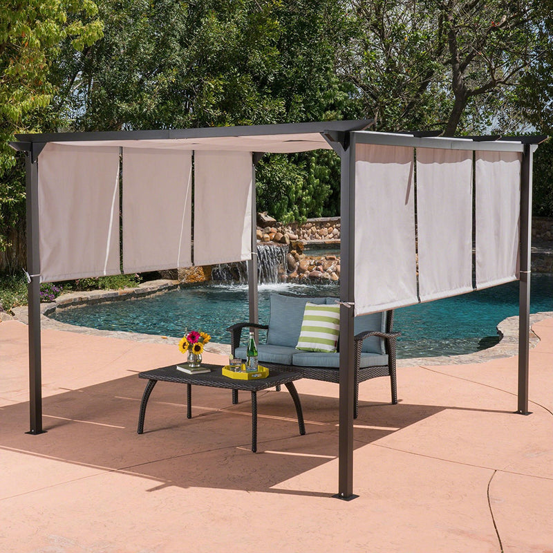 Outdoor Patio Steel Frame Gazebo Pergola with Grey Water Resistant Sun Shade - YourGardenStop