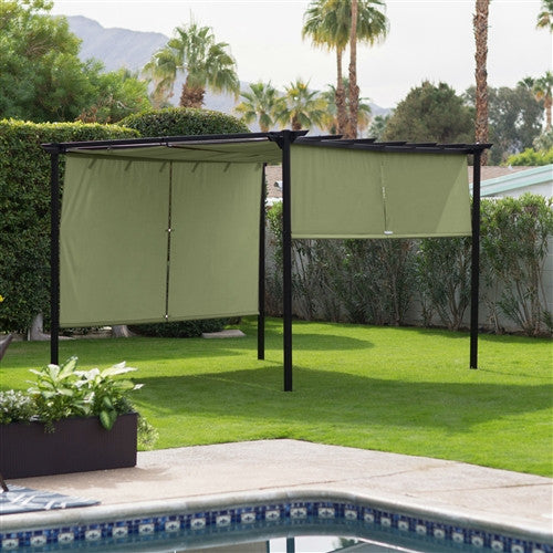 10ftx12ft Steel Pergola Gazebo with Green Retractable Shade Canopy - YourGardenStop