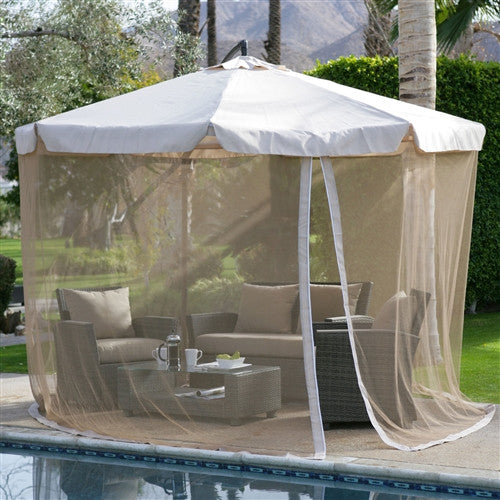 Green 11-Ft Offset Patio Umbrella Gazebo with Canopy Base and Detachable Mosquito Netting - YourGardenStop
