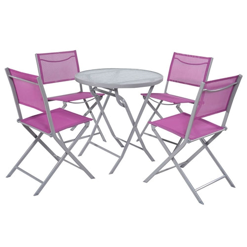 5-Piece Folding Chairs & Table Patio Furniture Set in Lilac - YourGardenStop