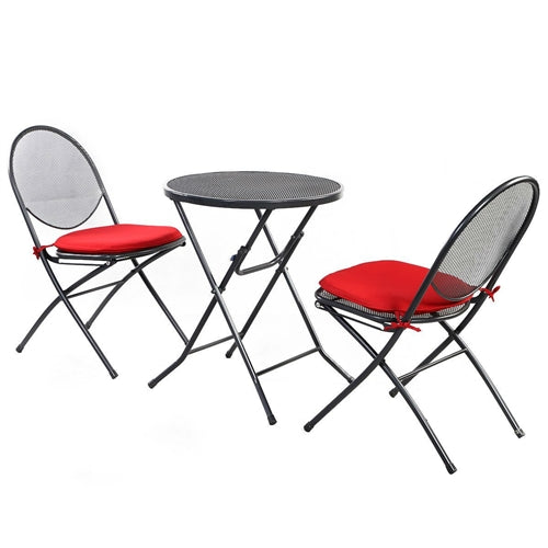 3-Piece Gray Steel Mesh Metal Patio Furniture Set w/Red Cushions - YourGardenStop