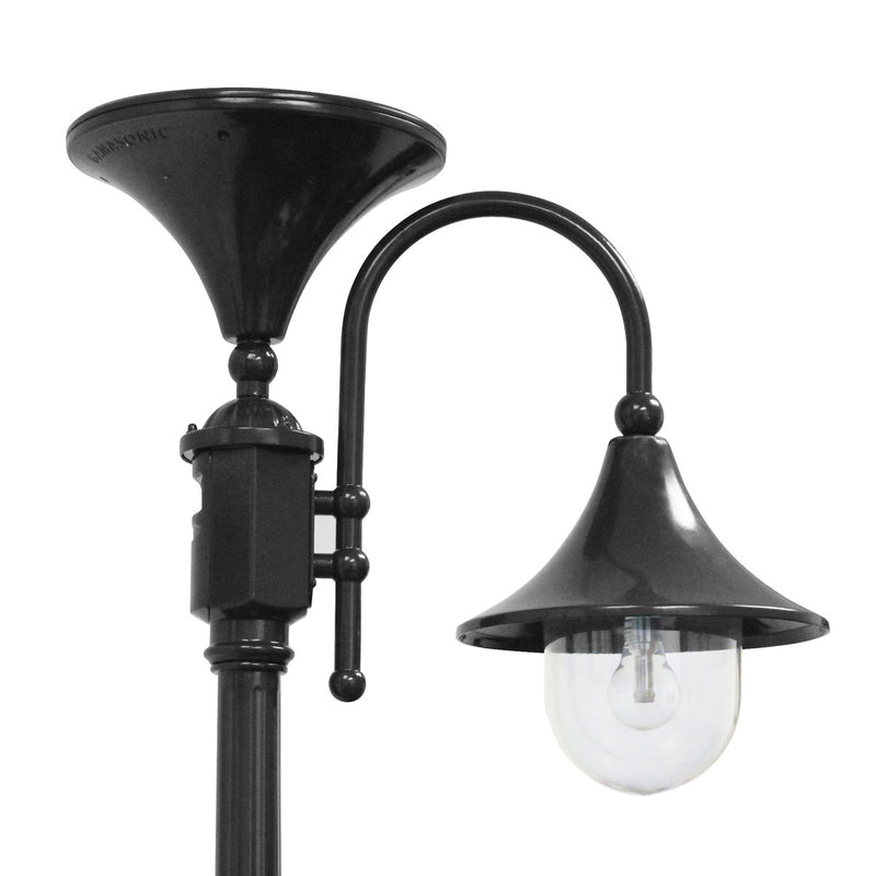 Gama Sonic Everest Solar Lamp Post w/GS Solar Bulb in Black - YourGardenStop