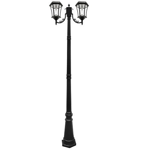 Gama Sonic Victorian Solar Lamp Post-Double Lamps Black w/GS Solar Light Bulb - YourGardenStop
