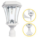 "Gama Sonic Victorian Solar Light w/GS Bulb- Wall/Pier/3"" Fitter Mount-White - YourGardenStop"