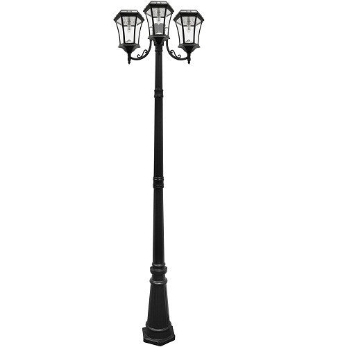 Gama Sonic Victorian Solar Lamp Post-Triple Lamps Black w/GS Solar Light Bulb - YourGardenStop