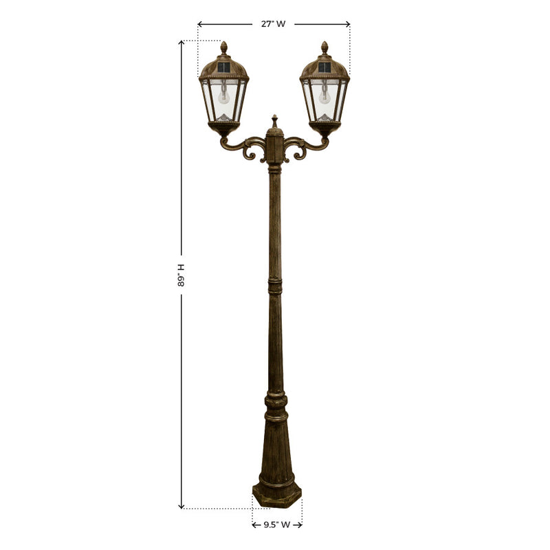 Gama Sonic Royal Solar Lamp Post w/GS Solar Bulb - Double - Bronze - YourGardenStop