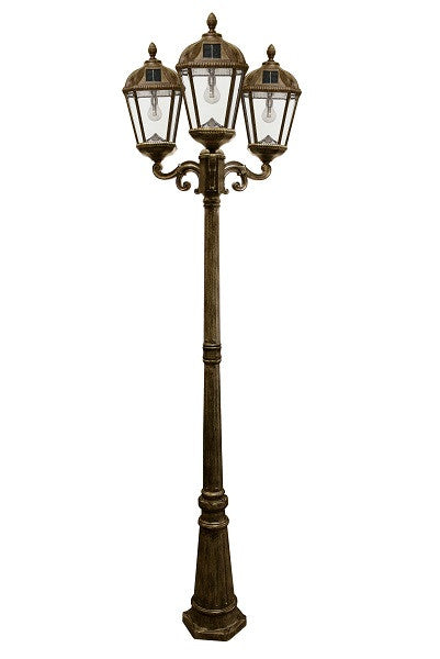 Gama Sonic Royal Solar Lamp Post w/GS Solar Bulb - Triple - Bronze - YourGardenStop