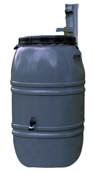 Grey 60-Gallon Rain Barrel with Lid in HDPE Food Grade Plastic Resin - YourGardenStop
