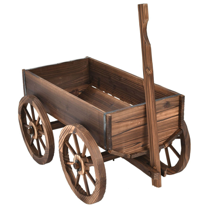 Mobile Half Barrel Solid Wood Planter Box on Wooden Wheels - YourGardenStop