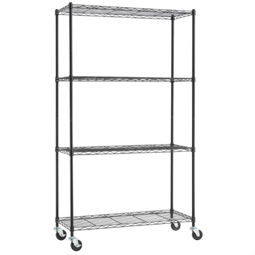 Heavy Duty Black Steel 4-Tier Shelving Unit with Locking Casters - YourGardenStop