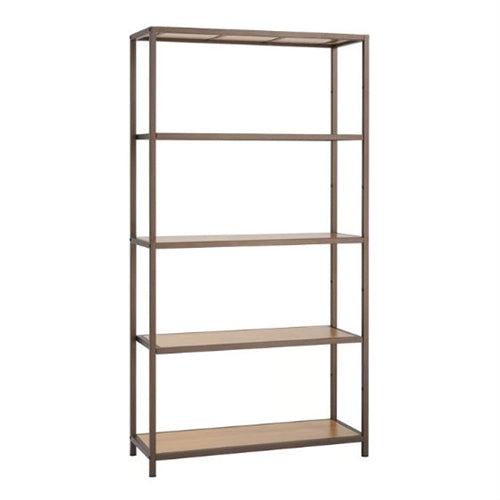 Heavy Duty 5-Shelf Steel Frame Shelving Unit with Bamboo Shelves - YourGardenStop