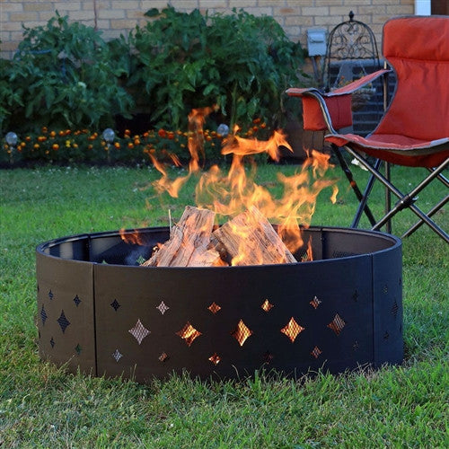 Heavy Duty 36 inch Black Steel Fire Pit Ring with Diamond Pattern - YourGardenStop