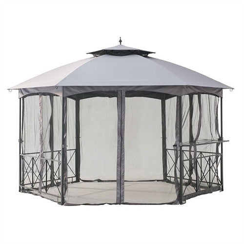 13Ft x 14Ft Hexagon Gazebo Canopy with Bar Shelf and Mosquito Netting - YourGardenStop