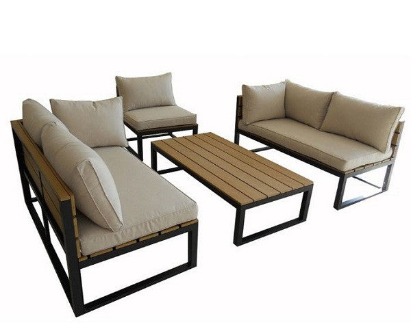 4 Piece Modern Outdoor Patio Furniture Set with Cushions - YourGardenStop