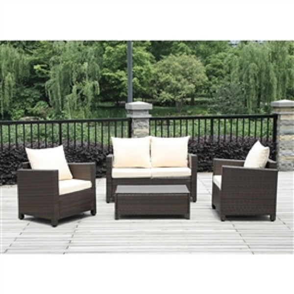 4-Piece Brown Wicker Resin Patio Furniture Set w/ Beige Cushions - YourGardenStop