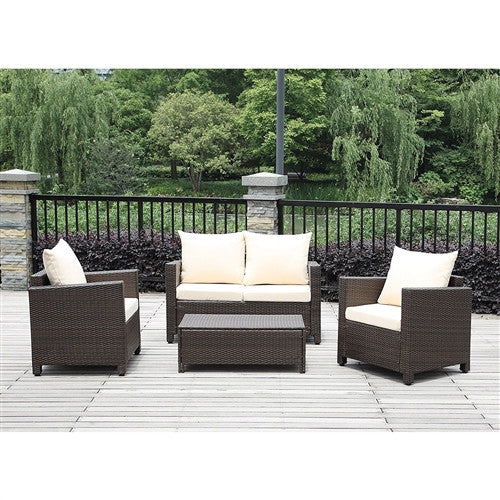 4-Piece Outdoor Resin Wicker Patio Furniture Set with Beige Cushions