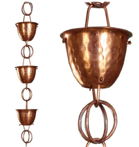 Hammered Copper Cups 8.5-Feet Rain Chain Rain Gutter / Barrel - YourGardenStop