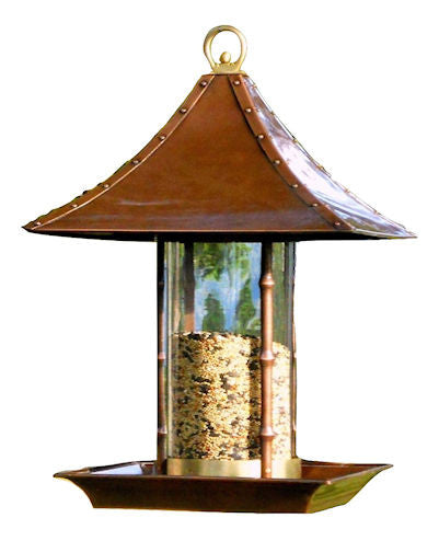 Metal and Glass Asian Style Bamboo Wild Bird Feeder
