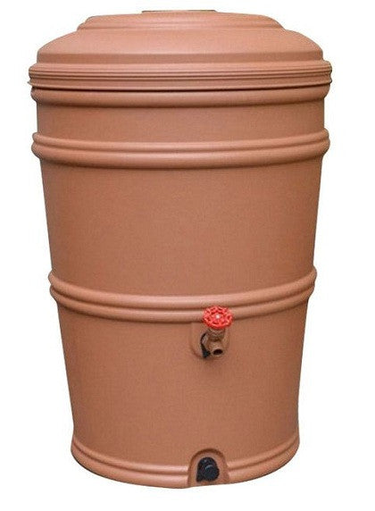 45 Gallon Plastic Rain Barrel with Flexi Fit Rain Gutter Diverter in Terra Cotta - YourGardenStop