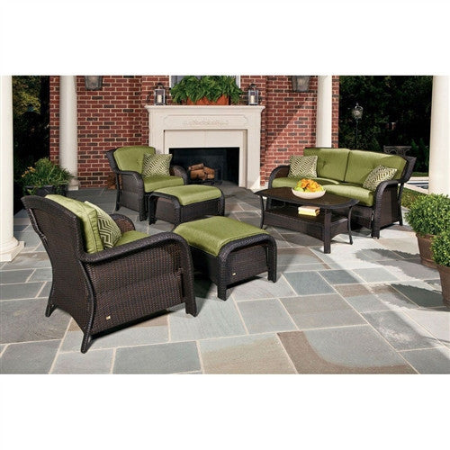 Resin Wicker 6-Piece Patio Furniture Set with Green Cushions
