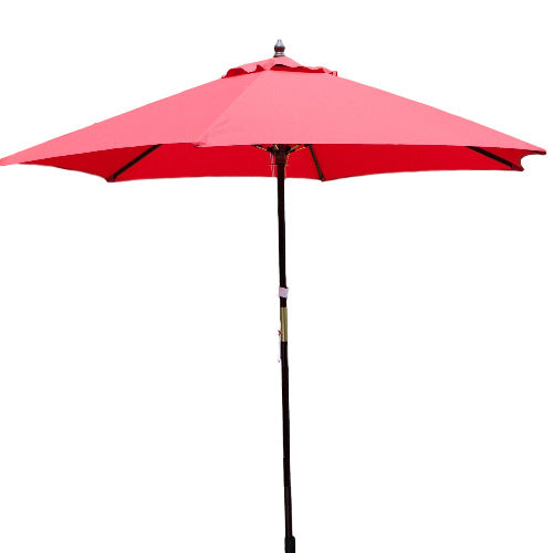 Outdoor 9-Ft Wood Patio Umbrella with Red Canopy Shade - YourGardenStop