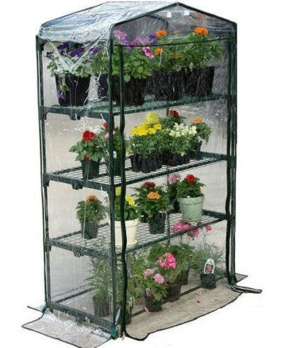 4-Tier Growing Rack Stand Greenhouse with Thermal Cover - YourGardenStop