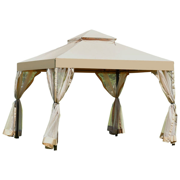 10ft x 10ft Steel Gazebo Canopy with Mosquito Netting Tan/Brown - YourGardenStop
