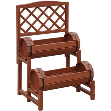 Red Cedar Double-Barrel 2 Tier Planter Stand with Built In Trellis - YourGardenStop