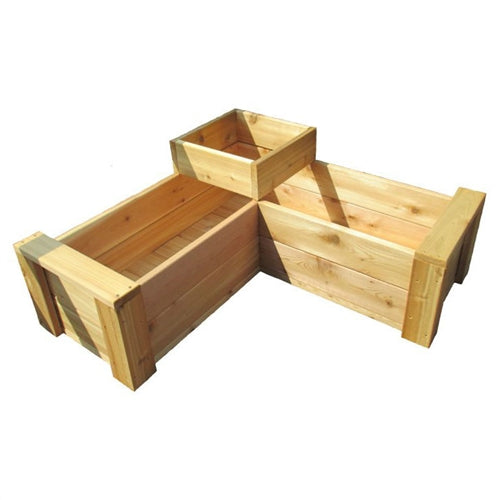 Heavy Duty Rot-Resistant Cedar 2 Level L-Shaped Planter Made in USA - YourGardenStop