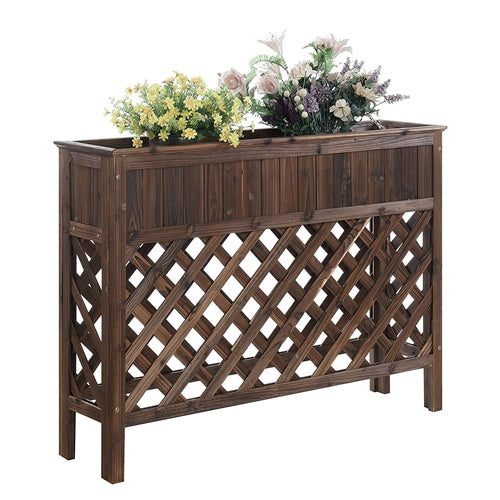 "Large Raised Patio Planter Weathered Cedar L 48"" x W 12.5"" x 35.5"" - YourGardenStop"