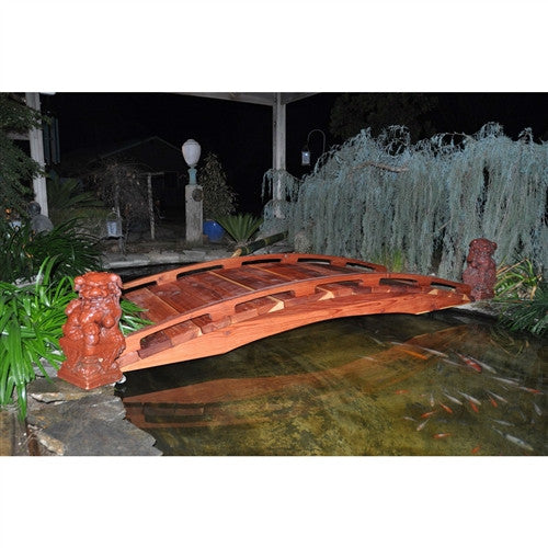 Japanese Style 4' Wood Garden Bridge in Outdoor Sealed Redwood