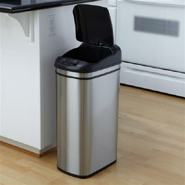 11.1 Gallon Kitchen Infrared Touchless Automatic Motion Sensor Lid Open Trash Can - YourGardenStop