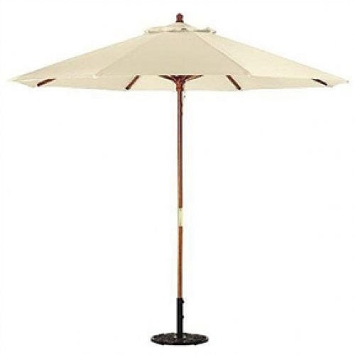9-Ft Patio Umbrella with Wood Frame and Natural Canopy - YourGardenStop