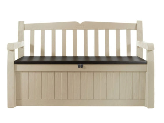 Beige Resin 70-Gallon Outdoor Garden Bench Deck Box - YourGardenStop
