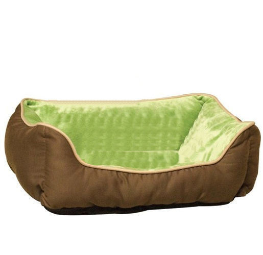 Small Dog or Cat Pet Bed Lounger Self Warming in Mocha Green - YourGardenStop