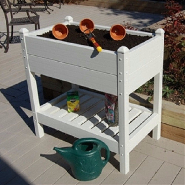 36-inch Wide Raised Planter Box in White Vinyl - YourGardenStop
