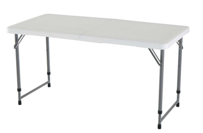 Adjustable Height White HDPE Plastic Folding Table - YourGardenStop