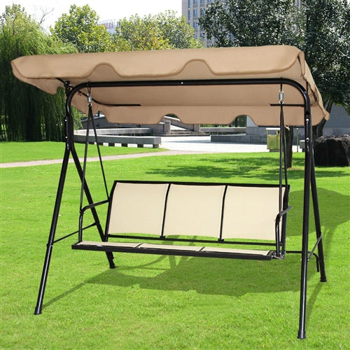 Outdoor Porch Patio 3-Person Canopy Swing in Light Brown - YourGardenStop