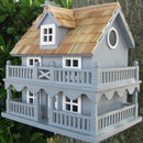 Light Blue Wooden Cottage Birdhouse with Removable Back - YourGardenStop