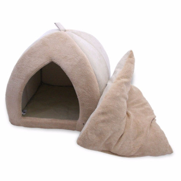Tan 18 inch Large Dog Bed Tent with Soft Fleece Lining - YourGardenStop