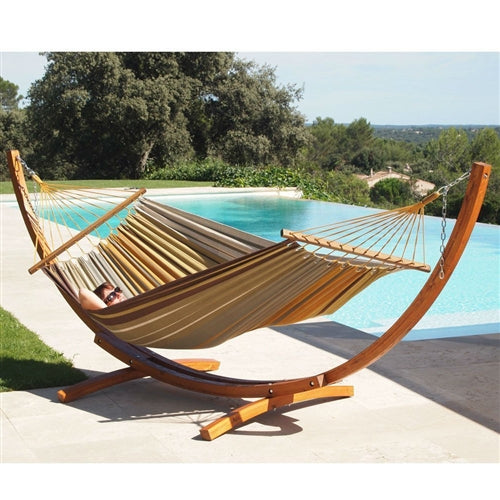 Stripped Cotton Canvas Hammock with Crescent Wood Frame Stand