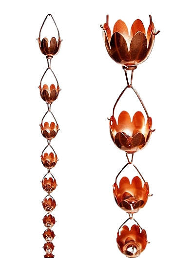 Lily Lotus Flower 100% Copper 8-Foot Rain Chain - YourGardenStop