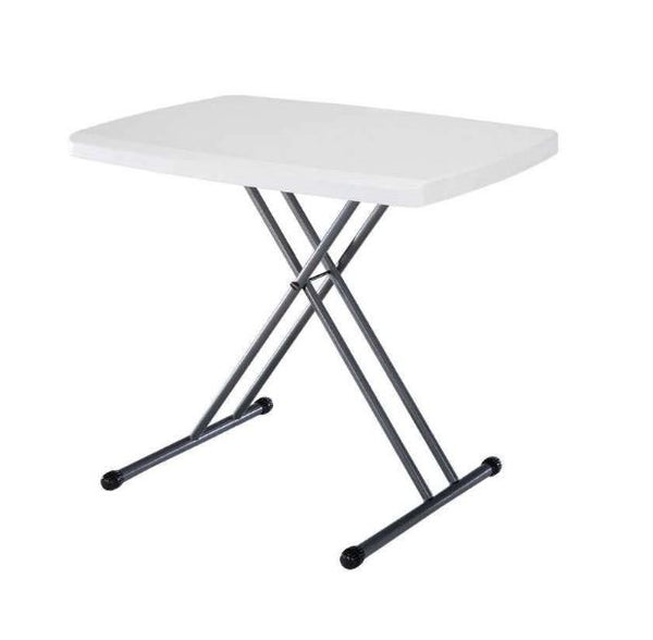 Adjustable White Plastic Top Folding Table w/Sturdy Steel Metal Legs - YourGardenStop