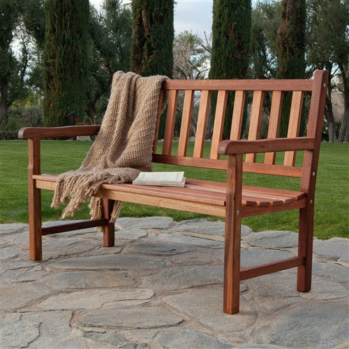Outdoor Traditional 4 Foot Garden Bench in Durable Red Shorea Wood - YourGardenStop