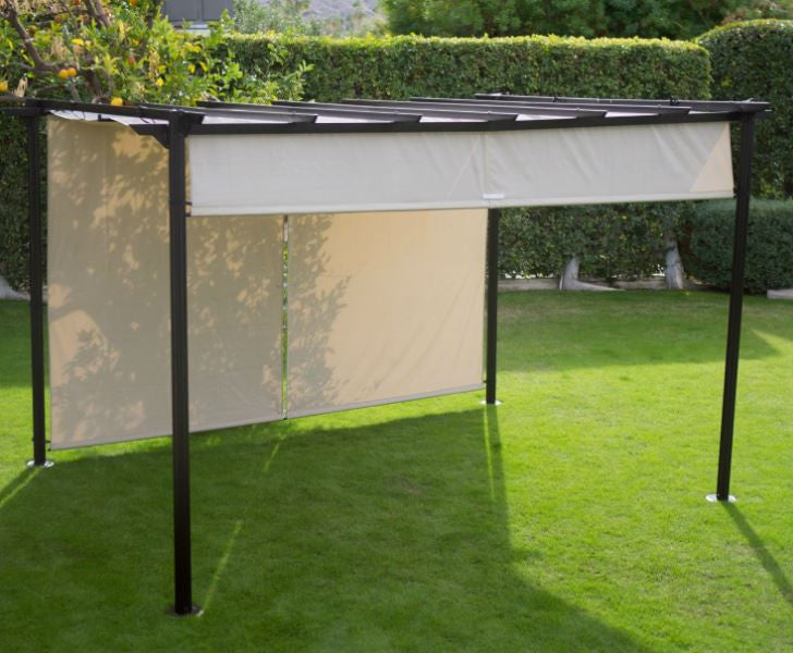 10ftx12ft Dark Brown Steel Pergola with Retractable Ivory Shade Canopy - YourGardenStop