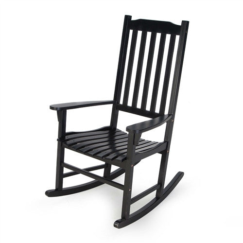 Indoor/Outdoor Patio Porch Black Slat Rocking Chair - YourGardenStop