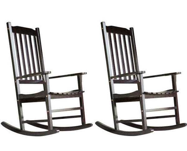 Set of 2 - Indoor/Outdoor Patio Porch Black Slat Rocking Chairs - YourGardenStop
