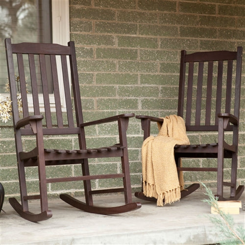 Set of 2 - Indoor/Outdoor Patio Porch Dark Brown Slat Rocking Chairs - YourGardenStop